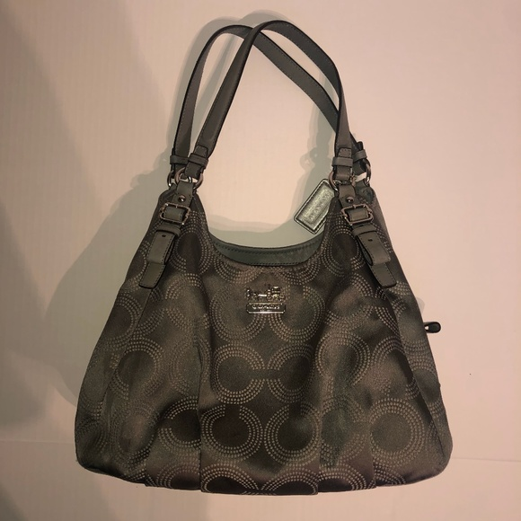 Coach Handbags - Coach Shoulder Purse Bag in Gray Signature Canvas